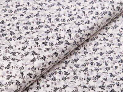 Webware Baumwolle Patchwork - Floral - creme  / schwarz