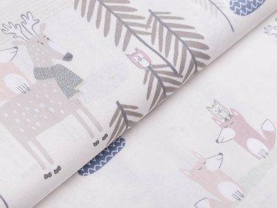 Webware Baumwolle Patchwork - Füchse und Rentiere - creme