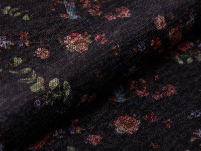 Jersey Strickstoff - Blumen - anthrazit
