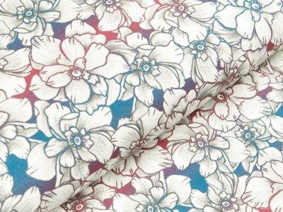 Jersey Eigenproduktion KDS Elfi's Art - Elfen - Blumen Kombi - rot-blau