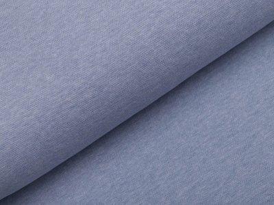 Glattes Bündchen im Schlauch Melange Viola - helles blau