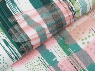 Webware Viskose - abstrakte Streifen - wollweiß