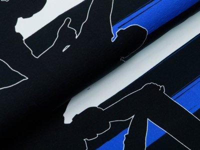 Jersey Bordürenstoff Swafing Fans - Fans auf Streifen - weiß/schwarz/blau