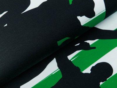 Jersey Bordürenstoff Swafing Fans - Fans auf Streifen - weiß/grün