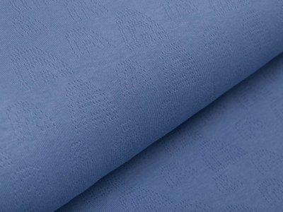 Baumwolle Feinstrick-Jersey Pointoille Lochmuster - Regenbögen - jeansblau