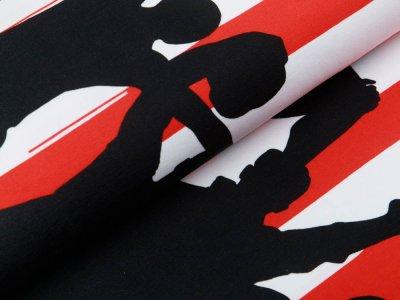 Jersey Bordürenstoff Swafing Fans - Fans auf Streifen - rot/weiß