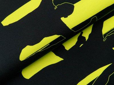 Jersey Bordürenstoff Swafing Fans - Fans auf Streifen - schwarz/gelb