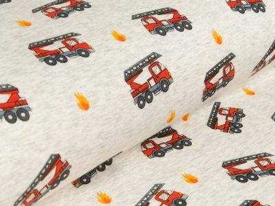 Alpenfleece - Feuerwehrautos - meliert beige