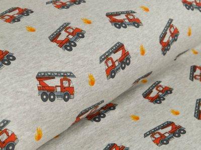Alpenfleece - Feuerwehrautos - meliert grau