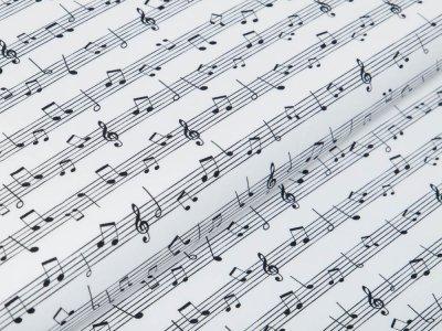 Webware Baumwolle SAM - Musiknoten - weiß