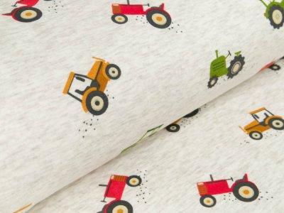 Alpenfleece - Traktoren - meliert beige