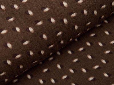 Musselin Baumwolle Double Gauze reaktiv Druck - verschobene Kreise - braun