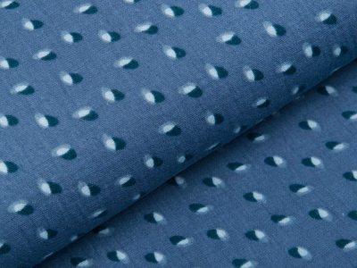 Musselin Baumwolle Double Gauze reaktiv Druck - verschobene Kreise - jeansblau
