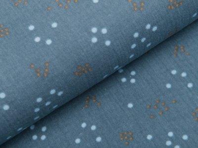 Musselin Baumwolle Double Gauze reaktiv Druck - Punkte-Blumen - taubenblau