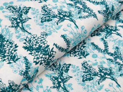 Webware Baumwolle Patchwork - Blumenstrauß - weiß / mint