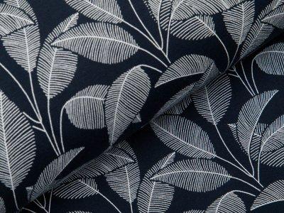 Angerauter Sweat Organic Cotton - Blätter - navy