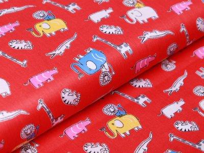 Twill Baumwolle - lustige Zootiere - rot