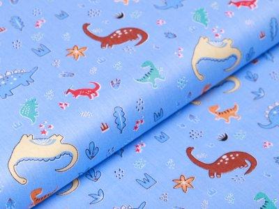 Twill Baumwolle - kleine und große Dinos - blau