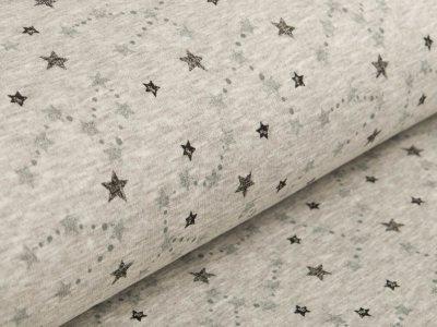 Alpenfleece - Sterne - meliert helles grau