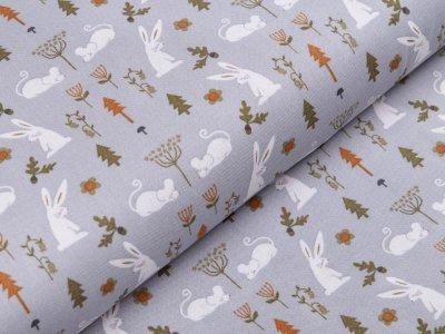 Webware Baumwolle Patchwork - Hasen und Mäuse - grau