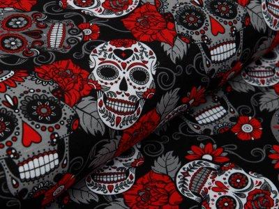 Jersey - Totenköpfe und Blüten - schwarz/rot