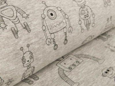 Alpenfleece - Roboter - meliert helles grau