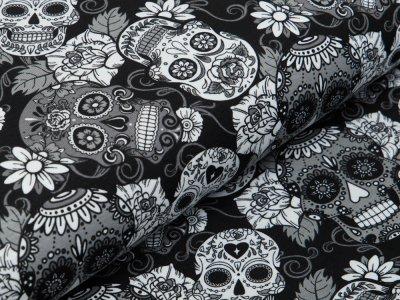 Jersey - Totenköpfe und Blüten - schwarz/weiß