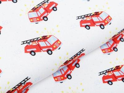 Webware Popeline Baumwolle - Feuerwehren - weiß