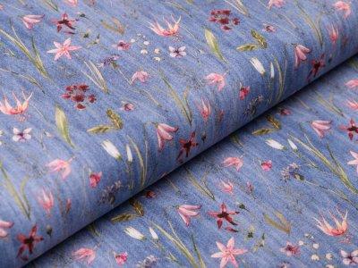 Webware Baumwolle in Jeansoptik - Wiesenblumen - jeans