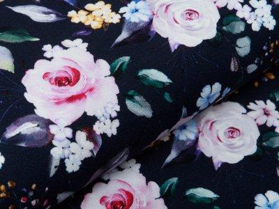 Jersey Viskose Crepe - Fräulein von Julie  - Blüten - dunkelblau