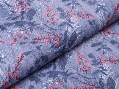 Webware Baumwolle in Jeansoptik - Zweige und Blätter - jeans