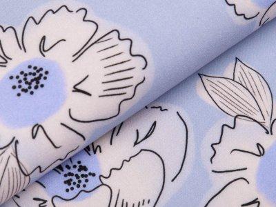 Webware Viskose Swafing Happy Me by Cherry Picking - Blüten - blau
