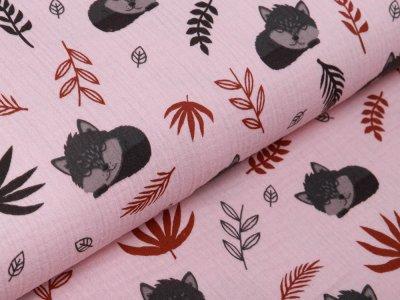 Baby Musselin Baumwolle Double Gauze SAM  - schlafende Füchse und Blätter - rosa
