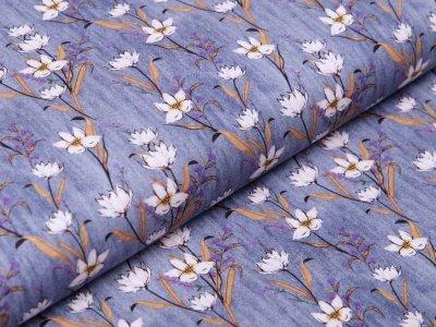 Webware Baumwolle in Jeansoptik - Blumen - jeans