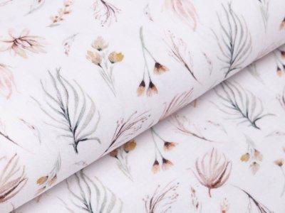 Baumwolle Musselin Double Gauze Digitaldruck - Blumen und Blätter - wollweiß