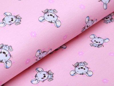 Leicht angerauter Sweat - kleine Mäuse - rosa