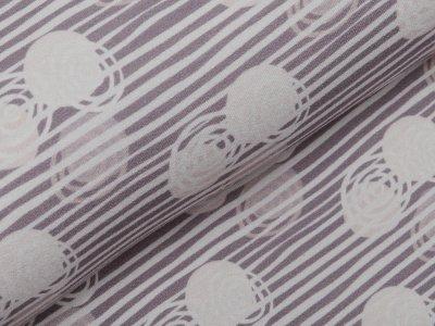 Jersey Viskose Crepe - Fräulein von Julie  - Kreise auf Streifen - grau