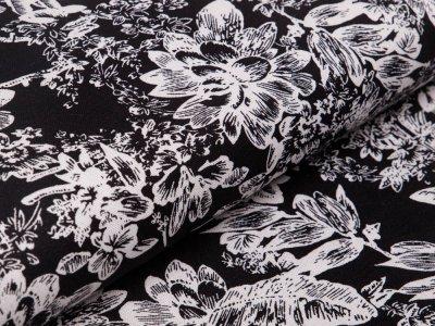 Webware Halbleinen - Blumen - schwarz