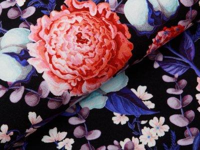 Jersey Viskose Crepe - Fräulein von Julie  - rote Blüten - schwarz