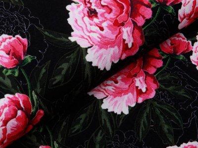 Jersey Viskose Crepe - Fräulein von Julie  - große Blüten - schwarz