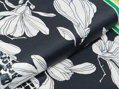 Jersey Bordürenstoff - Blumen - anthrazit