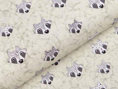 Webware Baumwolle Patchwork - Waschbären - helles mint
