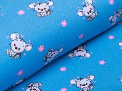Leicht angerauter Sweat - kleine Mäuse - blau