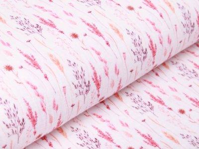 Baumwolle Musselin Double Gauze Digitaldruck - Gräser - wollweiß