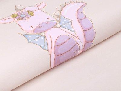 Sweat French Terry PANEL ca. 60 cm x 150 cm Drachenmädchen by emmapünktchen - putziges Drachenmädchen - creme