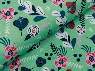 Jersey Fräulein von Julie  - Blumen - hellgrün