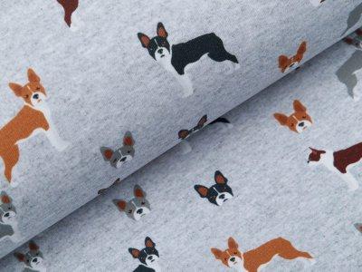 Sweat French Terry Digitaldruck - Hunde - meliert helles grau