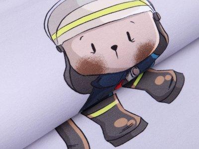 Sweat French Terry PANEL ca. 60 cm x 150 cm Feuerwehrbär by emmapünktchen - mutiger Feuerwehrbär - grau