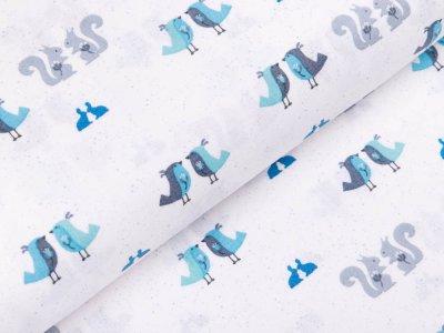 Webware Baumwolle Patchwork - Waldtiere - weiß / blau
