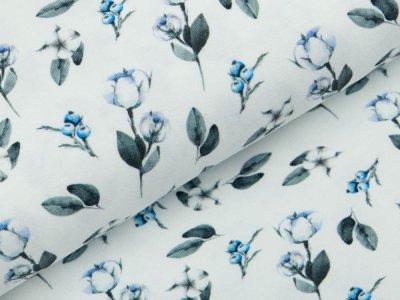 Jersey Digitaldruck - Blumen und Blätter - wollweiß